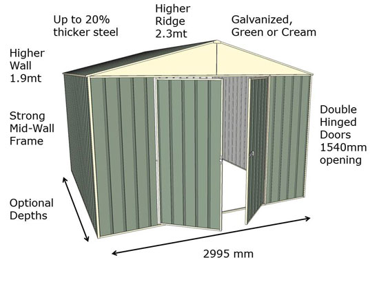 3.0 Mt Front Gable Double Door Garden Shed Series