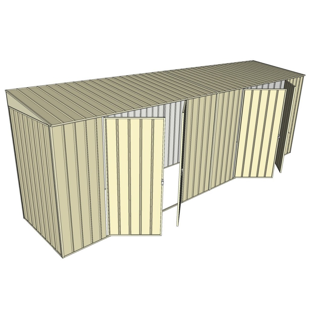 Garden Shed Skillion 1.2x6.0M 2xDouble Hinged